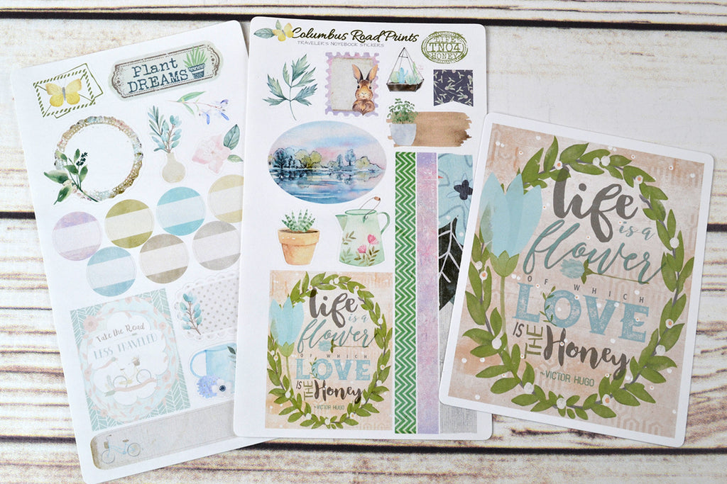 "TN04 Traveler's Notebook stickers kit, ""Life Honey"" 2 sheet sticker kit, traveler's Notebook kit, decorative stickers fits Midori, fauxdori - ColumbusRoadPrints"
