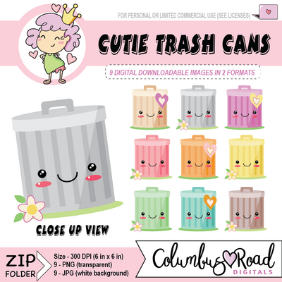 Kawaii Garbage Can, DIGITAL DOWNLOADABLE CLIPART, trash day, trash cans, Goodnotes art - ColumbusRoadPrints