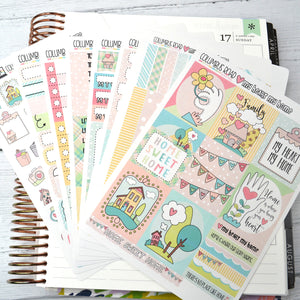 VERTICAL -- My Heart My Home -- weekly kit or a la carte, Whimsical weekly kit fits EC Lifeplanner, Vertical Planner Sticker Kit
