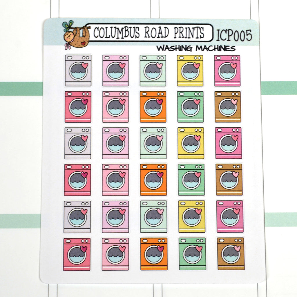 [ICP005] WASHING MACHINES, pastel laundry day, washing icons - ColumbusRoadPrints