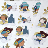 Ice skating, sledding, first snow winter girls snow angel planner stickers, fits all planners, planner girls in snow, two skin tone options,