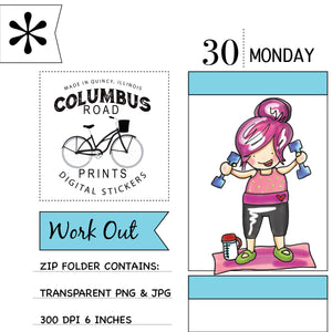 """Work Out"" Exercise Girl, Digital sticker, Clip Art, Weight Loss Motivation"