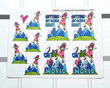 """On Top of the Word"" Planner Girl, hand drawn planner girl stickers - ColumbusRoadPrints"
