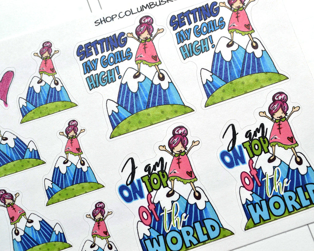 """On Top of the Word"" Planner Girl stickers - ColumbusRoadPrints"