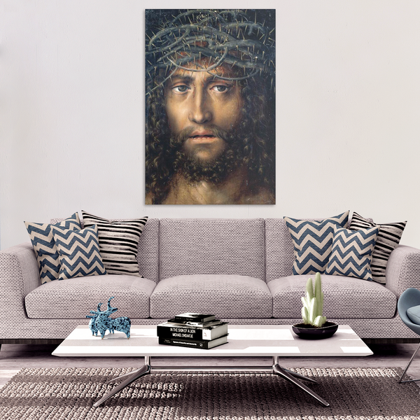 Head of Christ Crowned with Thorns Canvas Print Framed, circa. 1510 - Lucas Cranach the Elder - Ballooo