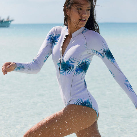 Dandelion - One Piece Long Sleeve Rashguard, Bathing, Surfing Swimsuit - Ballooo