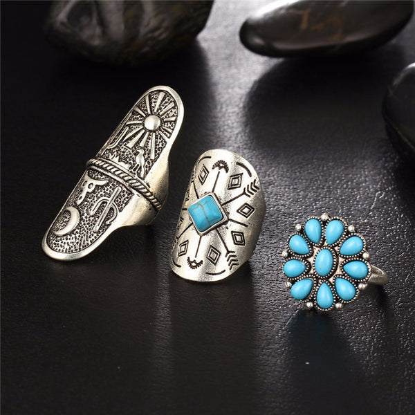 9 Pc Turquoise Boho-Chic Ring and Knuckle Ring Set - Ballooo