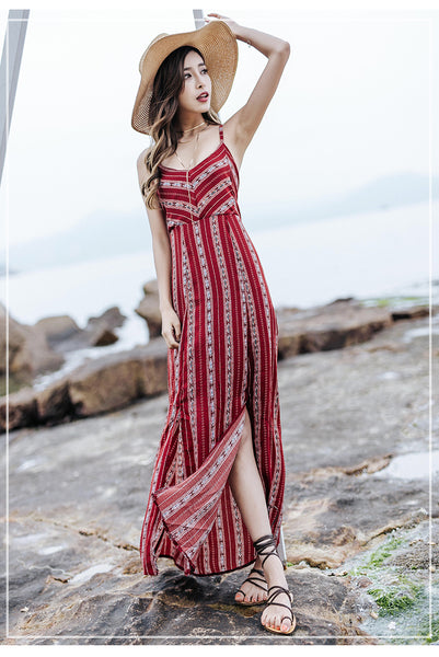 Vintage Lace-Up Striped Floor Length Gown - Ballooo