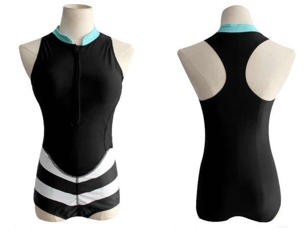 Rush - Sleeveless High Neck Dual Chevron Shortie Rash Guard - Ballooo
