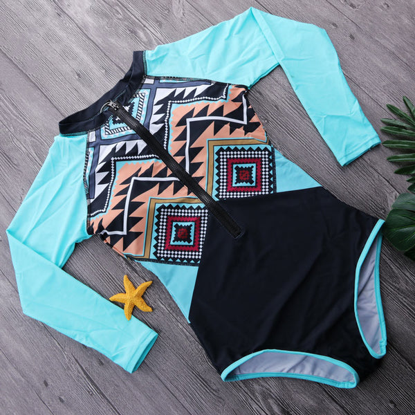 Aztec - One Piece Long Sleeve Bathing, Surfing Swimsuit - Ballooo