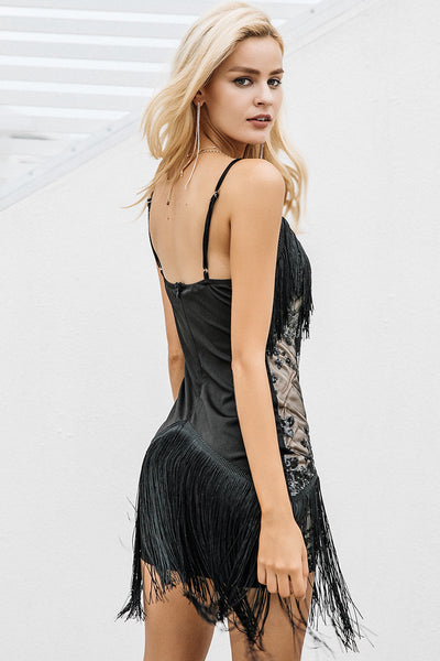 Black Dahlia - Lace Embroidered Sequined Large Fringed Mini Cocktail Evening Dress - Ballooo
