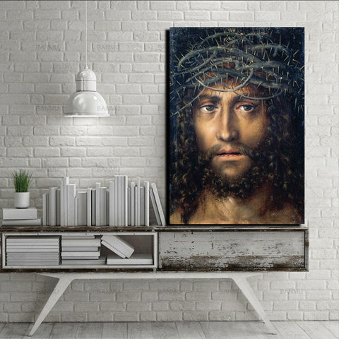 Head of Christ Crowned with Thorns Canvas Print Framed, circa. 1510 - Lucas Cranach the Elder
