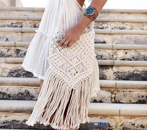 Boho Chic Woven Macrame Over The Shoulder Tassel Bag - Ballooo