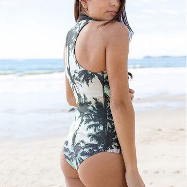 Suva - One Piece Sleeveless Zippered Swimsuit, Surfsuit with Palm Print Theme - Ballooo