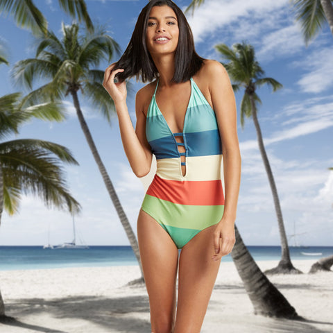 Palmino - Striped Multi Coloured Ladies One Piece Swimsuit - Ballooo