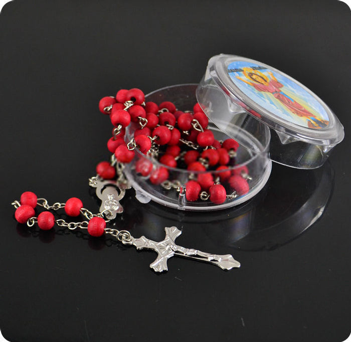 Fuschia Rose Scented  Wooden Rosary Beads - Ballooo