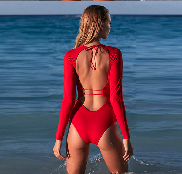 Zara - Red Backless One Piece Long Sleeve Zippered Rashguard - Ballooo