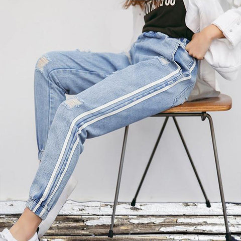 Faded Dual Striped Ripped Jeans