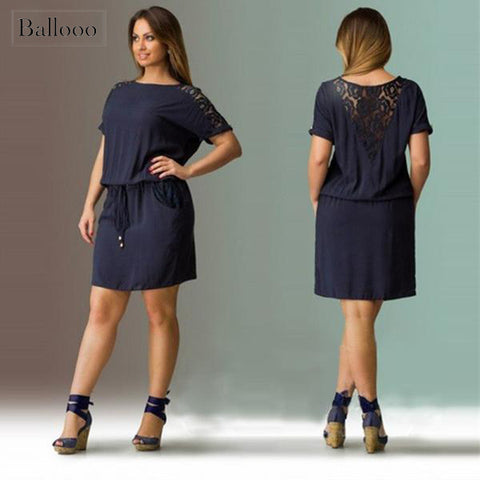 Plus Size Casual Drawstring Mini Dress with Lace Back and Sleeves
