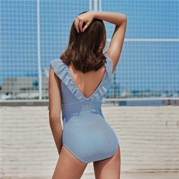 Deborah One Piece Ruffled Striped Swimsuit