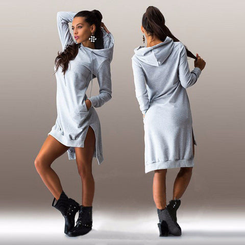 Long Sleeve cowl Neck Hoodie Dress - Ballooo