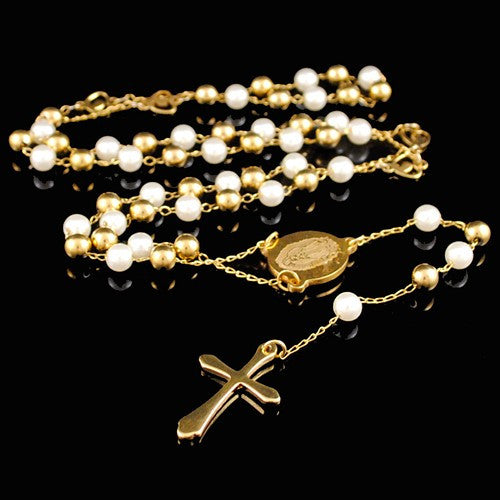 Vintage Gold and Pearl Coloured Rosary Beads - Ballooo