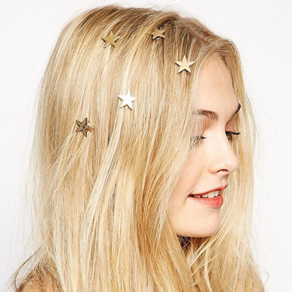 Ladies and Girls Mini Gold Star Hair Accents - Ballooo