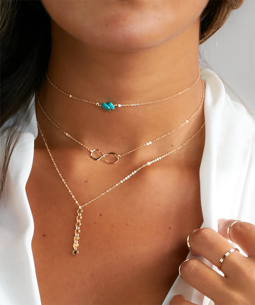 Multi Layer Turquoise Infinity Charm Choker Necklace - Ballooo