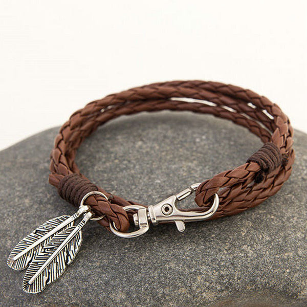 How the West was Won - His, or  hers feather wrap-around braided bracelet - Ballooo