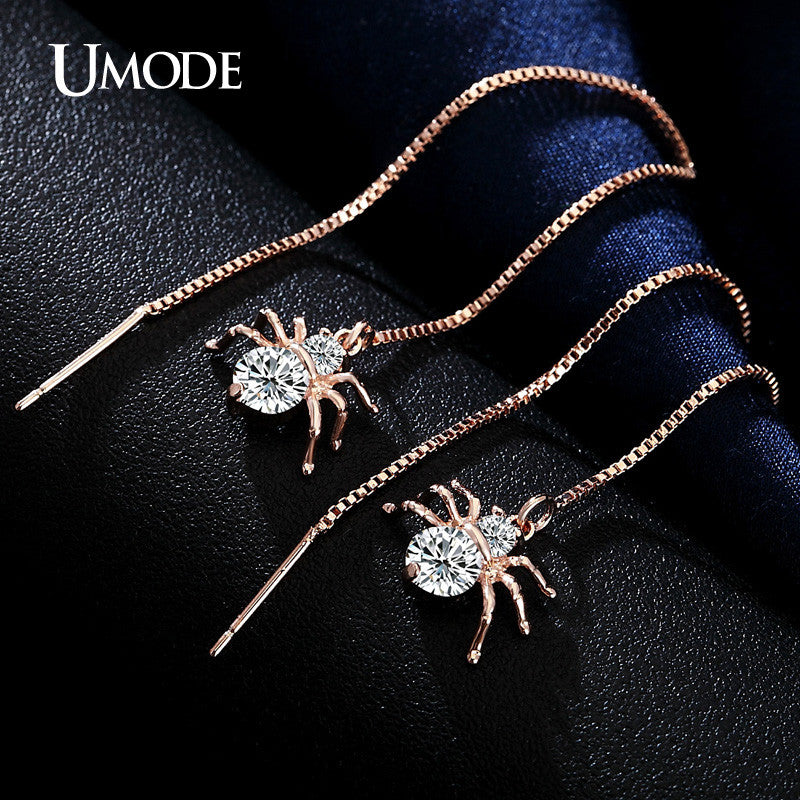 Crystal Spider Gold Plated Faux Diamond Long Dangle Earrings - Ballooo