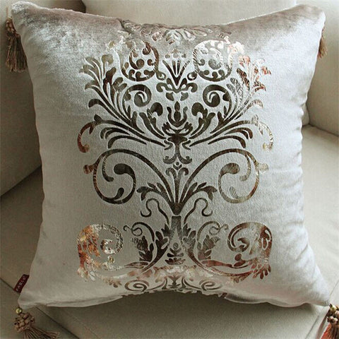 Luxurious, velvet, european cushion cover, with fine filigree detailing. - Ballooo