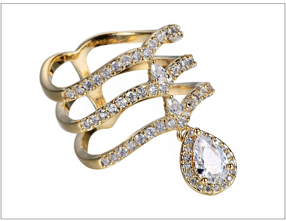 Stunning - 3 layer gold and crystal ring - Ballooo