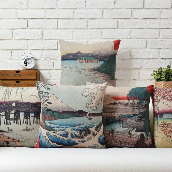 Japanese watercolour style cushion cover in the style of Katsushika Hokusai - Ballooo