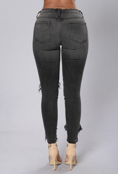 Stretch Denim Ripped Skinny Jeans - Ballooo