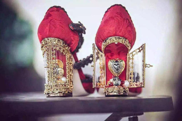 Caged Heel Crystal Opera Shoes with Charming Red/Black Lace Ruffles - Ballooo