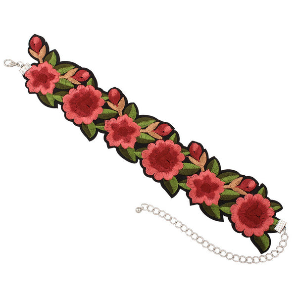 Embroidered Flowers Choker - Ballooo
