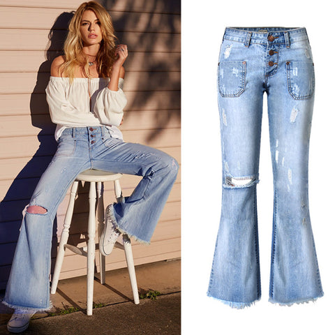 Low-Rise Distressed Vintage Bell Bottom Jeans