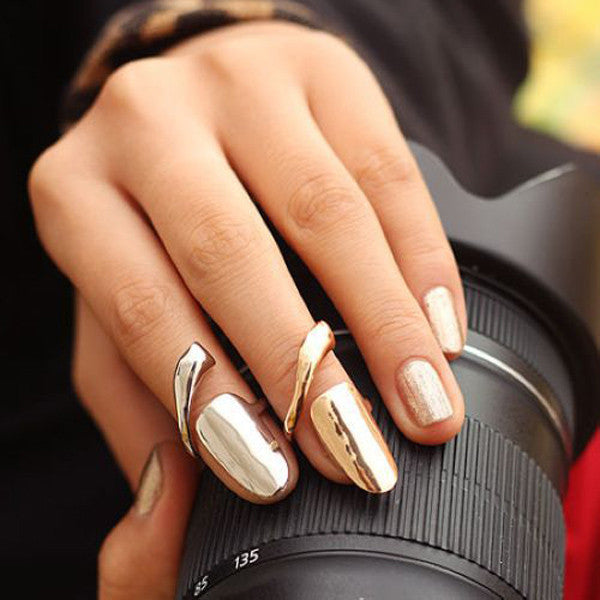 Gold, or Silver Finger Nail Ring Art - Ballooo
