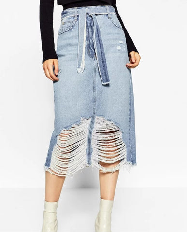 Distressed 3/4 Length Denim Skirt with Sash Belt - Ballooo