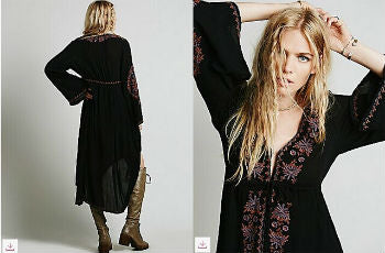 Long Boho Chic Vintage Embroidered Cotton Dress - Ballooo
