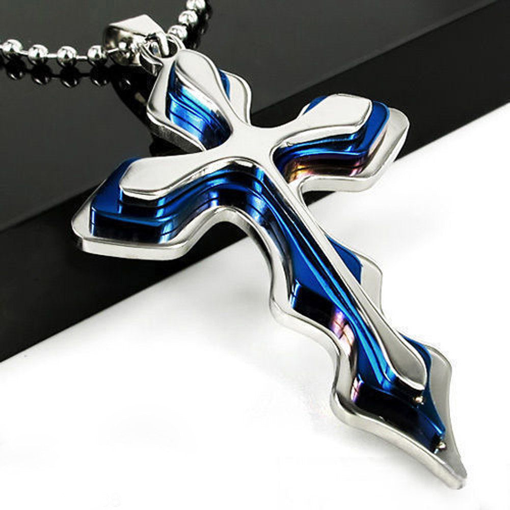 Men's Blue and Chrome Cross Necklace - Ballooo