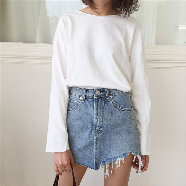 Ripped & Shredded Faded Denim Mini Skirt - Ballooo