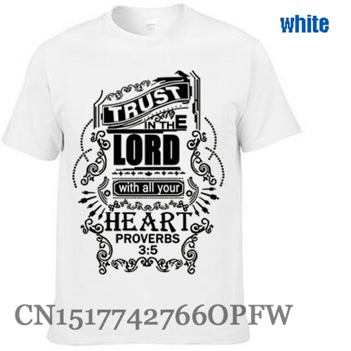 Trust in The Lord Christian T-shirt Men's brand tees Black Jesus 100% Cotton men T Shirt free shipping - Ballooo