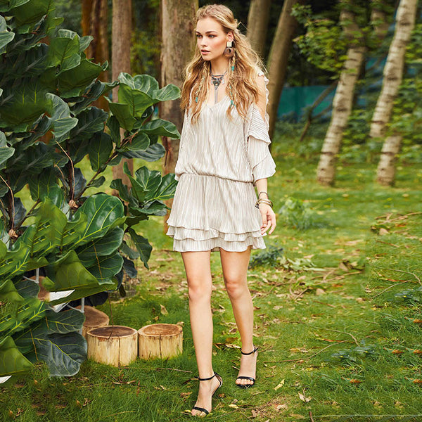 Diana - Long Sleeve Ruffled Victoriana Styled Boho Mini Dress - Ballooo