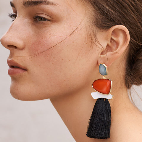 Large Bohemian Stone Drop Earrings with Long Tassels - Ballooo