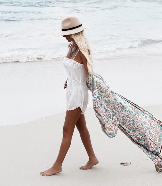Whimsy - Long Floral Boho Kimono Cover-Up - Ballooo