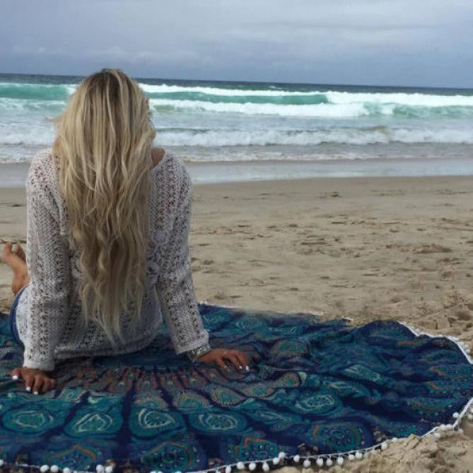 Ocean Blues Mandala Beach Blanket and Cover Up - Ballooo