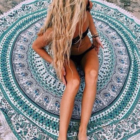 Turquoise Mandala Beach Blanket Cover Up - Ballooo