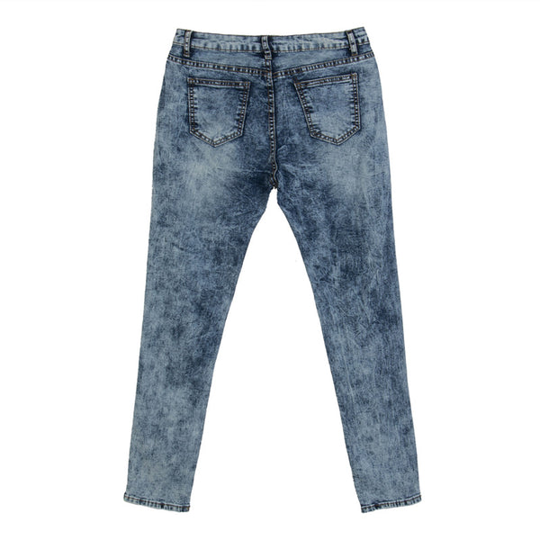 Faded Blues Ripped Skinny Jeans with Mid High Waist - Ballooo