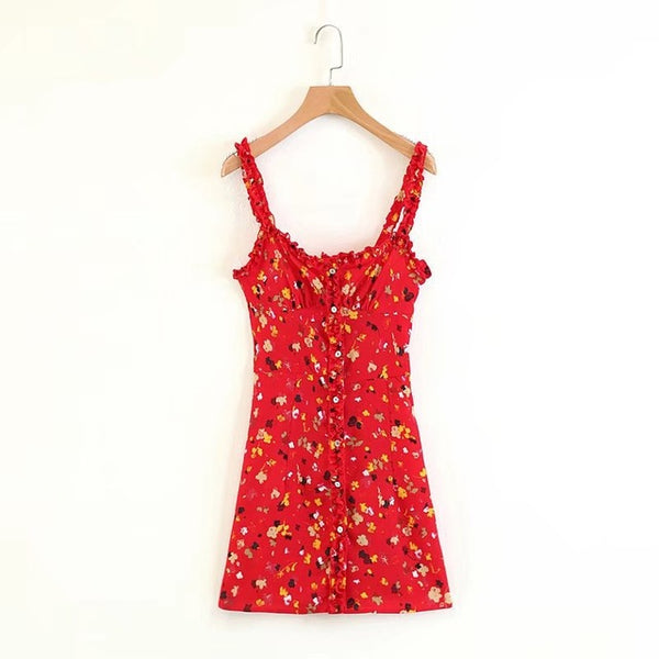 Flowers & Frills - Floral Summer Mini Dress with Frilly Shoulder Straps - Ballooo